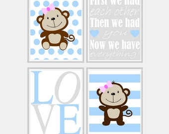 Baby Girl Nursery Art - Monkey Nursery Prints - Blue Nursery Decor - Baby Girls Room - First We Had Each Other Nursery Print - Pick Size