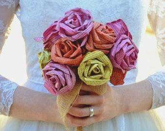 Wedding Paper Flower Alternative Bridal Posy Bouquet in Pink, Yellow and Orange