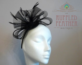 Black crinoline (crin) fascinator with stripped hackle feathers on narrow satin hairband - Black - MAYA