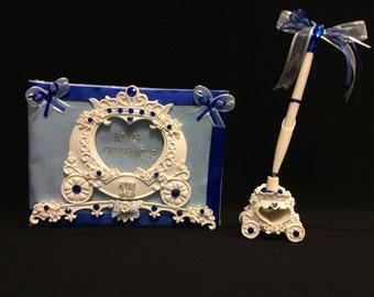 Decorated Cinderella Guest Book and Pen Set Decoration Signature Book Mis Quince