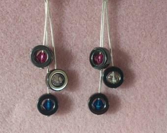 Swarovski filled hematite  earrings