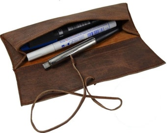 Leather pencil case Leather pencil pouch Leather pen case Leather pen pouch rollup pencil case leather pencil roll leather pencil holder