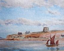 1942 Vintage Watercolor of Scapa Flow Vintage Art Vintage Watercolor Painting Vintage Riverscape Vintage Landscape Painting