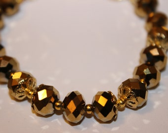 Gold-Plated Beaded Bracelet with Gold-Plated Caps and gold-plated spacers