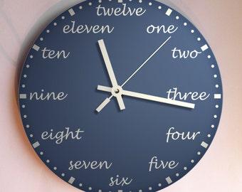 Textual  clock, office wall clock, modern wall clock, modern clock, gift for men, Housewares, unique wall clock,wall