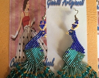 "Orecchini ""Pavone"" - earrings, peacock, blue, green, pearls, crystals, Delica"