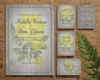 Yellow Rustic Floral Wedding Invitation Set/Suite, Printable Wedding Invitations/Invites, Save the date,Thank You Cards, Program,Digital/PDF
