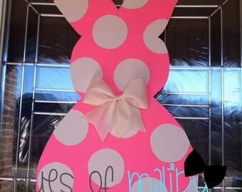 Hot Pink Polka Dot Easter Bunny Door Hanger