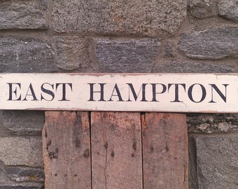 East Hampton, NY sign on salvaged barn wood hand-painted rustic