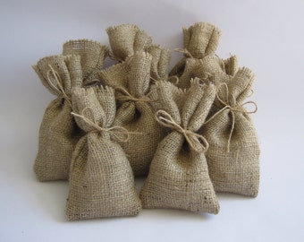 10 x hessian burlap wedding favour favor bags sacks table decor