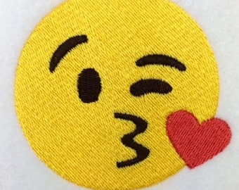 Smooch Emoji Machine Embroidery Design kiss emoji
