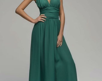 Emerald Green Maxi Chiffon Dress.Occasion Sleeveless Dress Party.Full Summer Dress.
