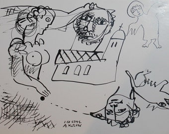 1991 abstract cubism figures ink drawing