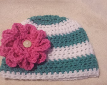 Stripped Beanie with Chunky Flower-Newborn to 12 months