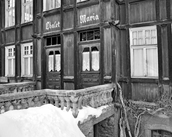 Cabin Decor Swiss Chalet Winter Photography Black And