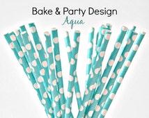 Paper Straws- Blue- Dark Aqua Straws- Polka Dots 25 Piece