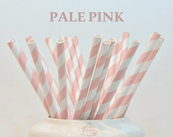 25 Piece Paper Straws Vintage PALE PINK Stripes Supplies  Baby Shower Birthday Party Wedding Bridal Shower