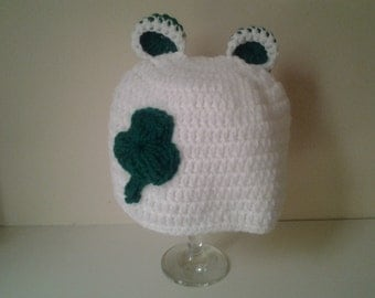 Girl st patrick hat, crochet st patrick hat, newborn beanie hat, girl shamrock hat, ready to ship