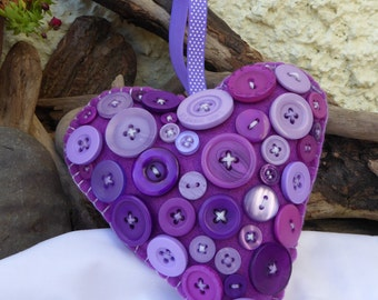 Handcrafted Berry Purple Padded Hanging Heart Decoration