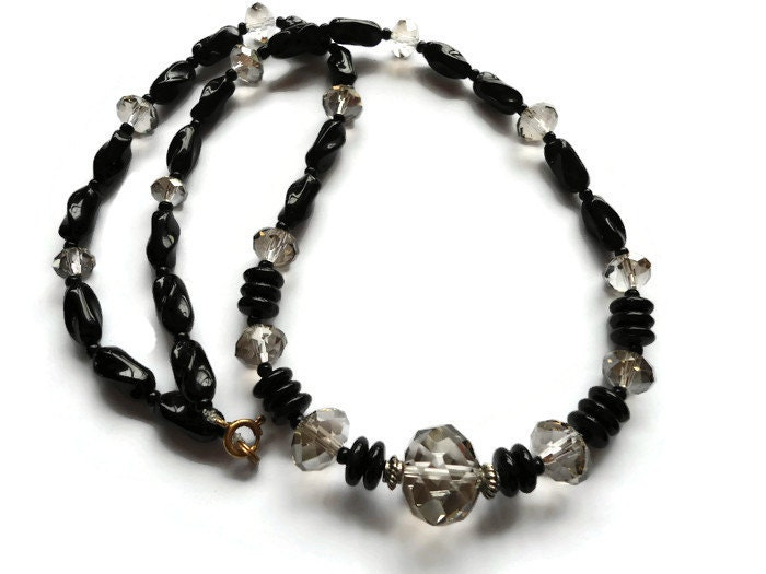 glass bead necklace clear and black beaded by tansybel