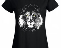 Lion shirt black tshirt for women. Lion mane t shirt. Woman tee wife, daughter, girlfriend gift Graphic wild animal tees for girls or ladies