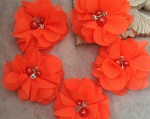 Neon orange, Chiffon flowers, pearl and rhinestone flowers, headband flowers, fabric flowers, material flowers, lace flowers, supply flowers