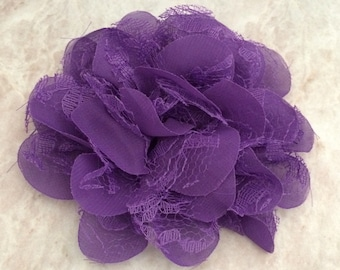 Chiffon and lace flower, large flower, purple flower, lace flower, flower puff, flower supplies, DIY supplies,