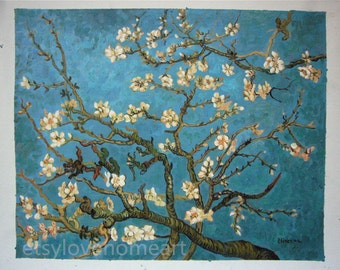 100%handpainted van gogh blooming almond tree 1890 oil painting reproduction for home decor wall art