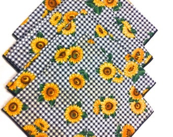 4 NEW Fall Sunflower Black & White Check Gingham Napkins