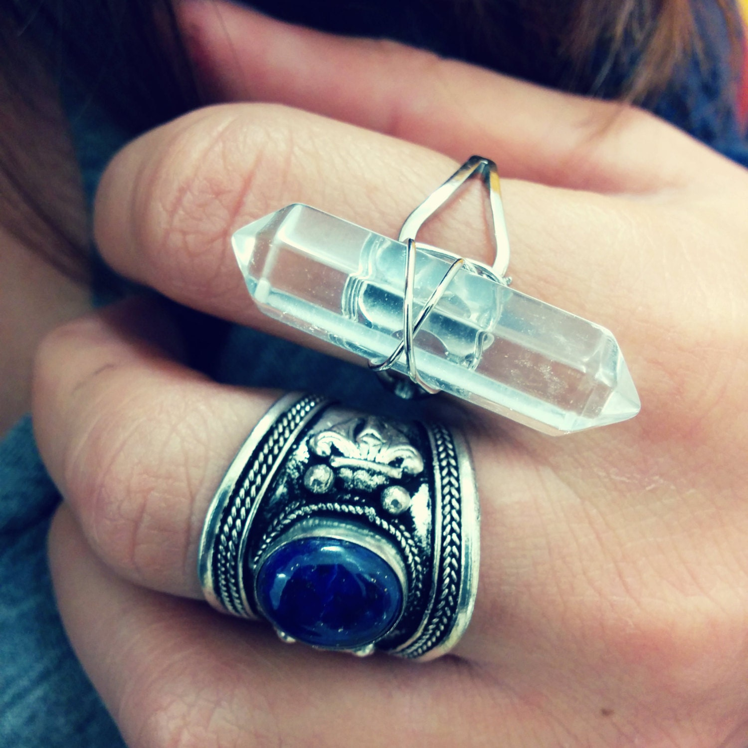 gemstone wire wrapped ring hexagon ring by meebird