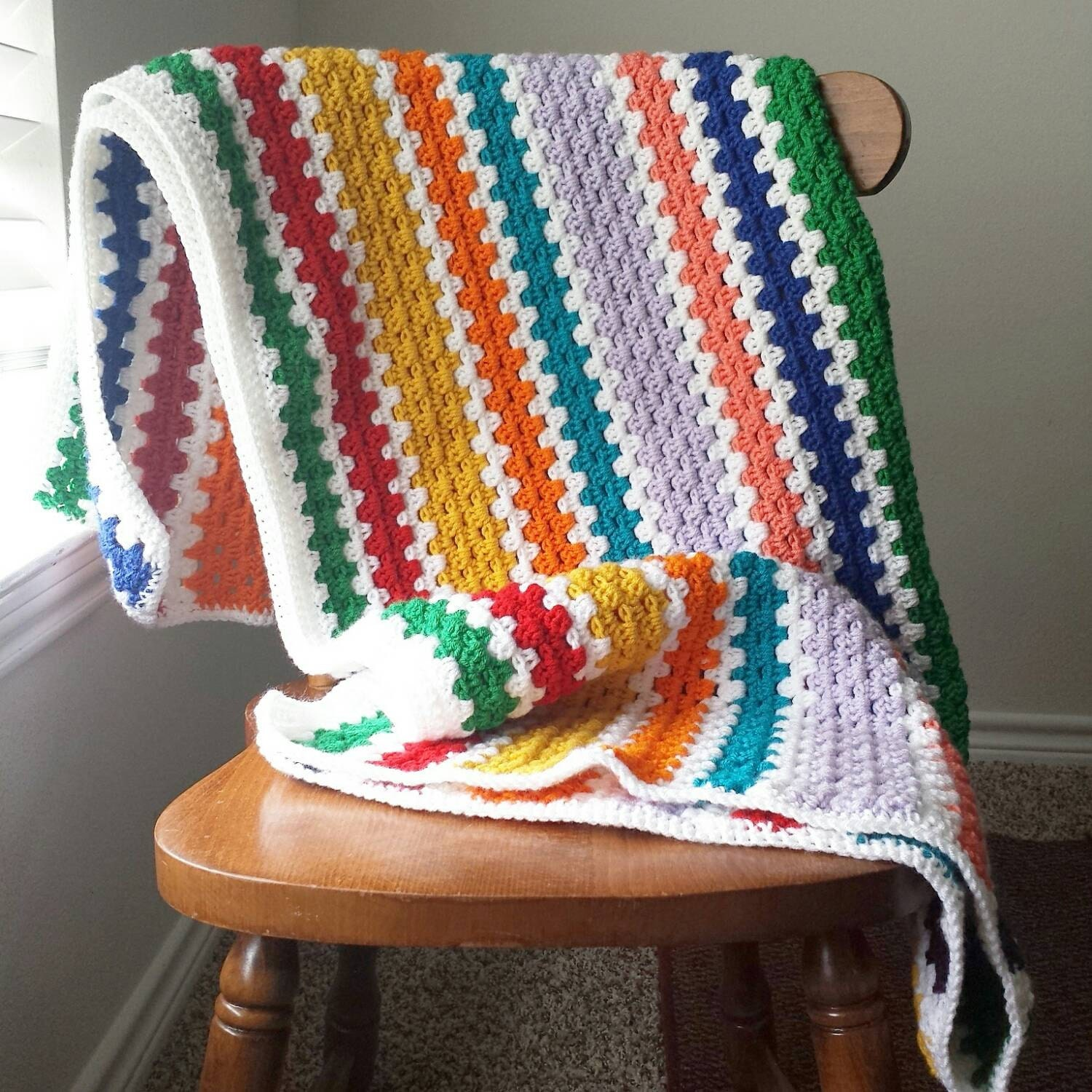 Striped Blanket Crochet Blanket Boho Blanket by HarvesonCrafts