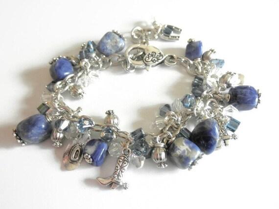 Denim Sodalite Charm Bracelet.Cowgirl Theme Bracelet Western Bracelet Gift for Her.