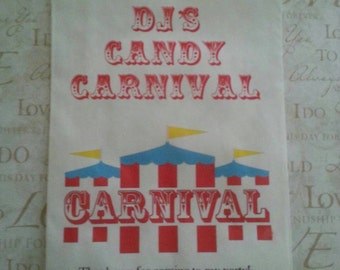 Circus Carnival Big Top Birthday White or Brown Kraft Candy Popcorn Buffet Bag 5x7  Favor Candy Buffet Bag Sold in Sets of 10