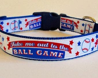 Baseball Dog Collar - Take Me Out to the Ball Game - READY TO SHIP!