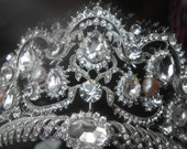 Queen Bridal Crown/Bridal Crystal Royal Diadem Swarovski/ 18k White Gold Princess Tiara blush fresh water pearl Austrian Cristal