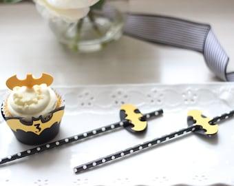 Batman Cupcake Wrapper OR Straw Sliders (Set of 12)