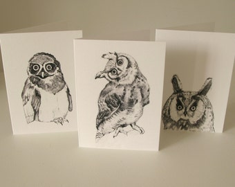 Owl Cards, Animal Cards, Nature Cards - Handmade Greetings Cards for all Occasions - Blank Card Set of 3