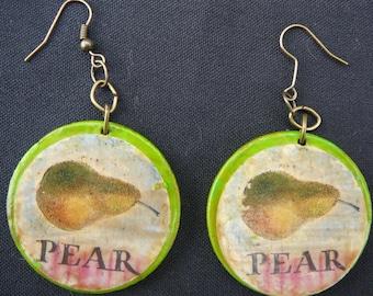 Wood Decoupage Antique Seed Pack Earrings Handmade