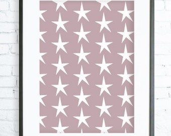 Instant Download Printable, White Star, Print Art,  Modern Art Print, digital art, Print, star art, star print