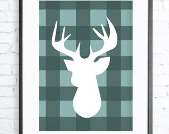 Mint Deer Head, Mint Deer Head Print, Mint Art Print, digital art, Deer Head Wall Art