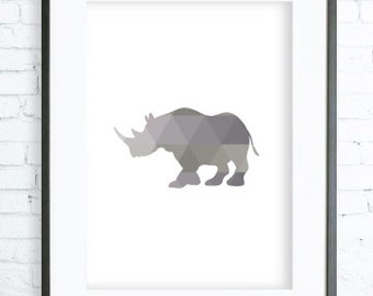 Safari Animal, Safari Print Art, Printable Rhinoceros,Safari Animal Poster, Rhinoceros Print Art, Rhinoceros modern art, digital art