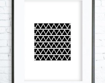 Black Triangles Printable,Black & White Triangles Pattern, Print Art, modern art,Triangles  print,Triangles Printable