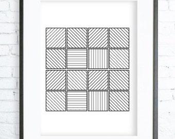 Black Squares,Printable Squares, Black Print Art, modern art, Squares print,Squares Art