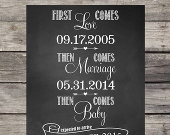 cute baby pregnancy announcement with photos ultrasound poster. Black Bedroom Furniture Sets. Home Design Ideas