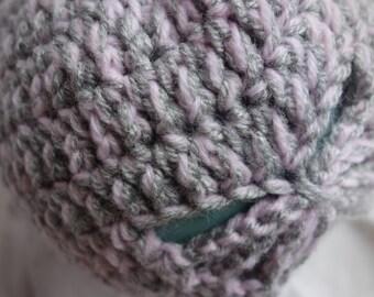 Handmade Crochet retro inspired Girls Hat - pink and grey