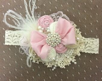 Dollcake Vintage Headband- Pink and Ivory Headband. Baby Bow Headband