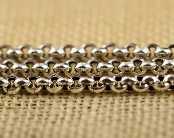 """Chunky Sterling Silver Rolo Chain 5mm, Sterling Silver Belcher Chain, Sterling Silver Rollo Chain 925 Stamped 20"""" 22"""" 24"""" 26"""" 28"""" Inches"""