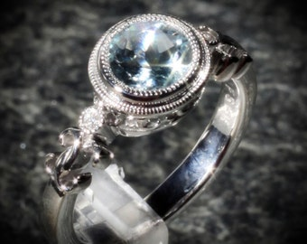 Sterling Silver Natural Genuine Aquamarine & Diamond Birthstone or Enagagement Ring Sz 7