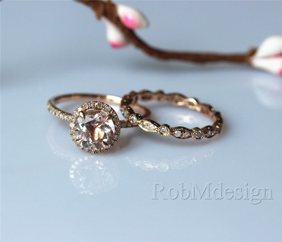 morganite engagement ring set 7mm cut by robmdesign