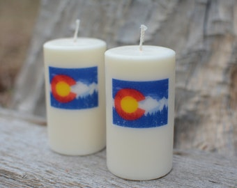 Handmade Scented Palm Wax Candle  CO Mtn Flag